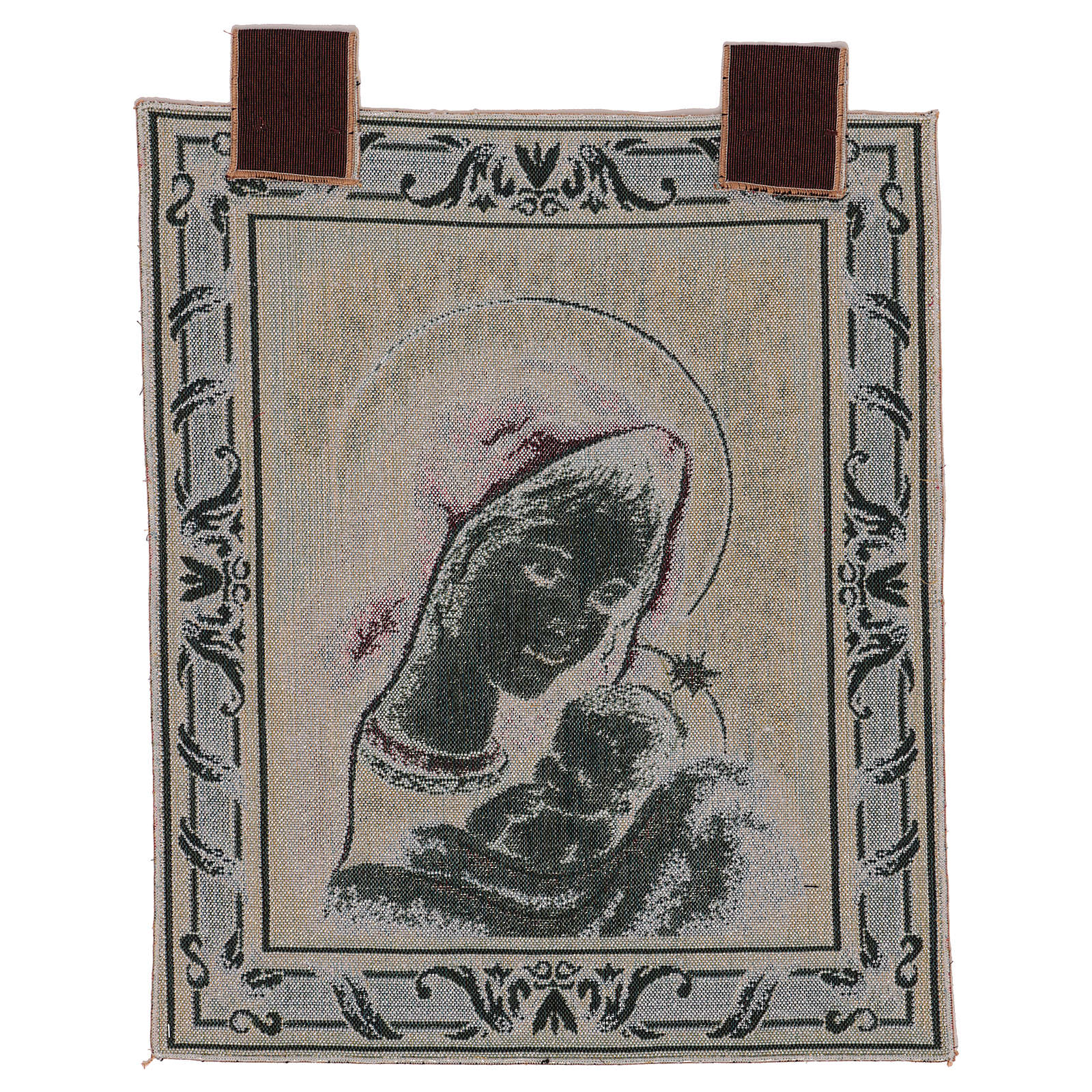 Arazzo Madonna di Recanati cornice ganci 45x40 cm 3