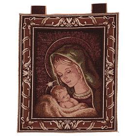 Arazzo Madonna di Recanati cornice ganci 45x40 cm s1