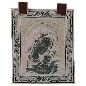 Arazzo Madonna di Recanati cornice ganci 45x40 cm s3