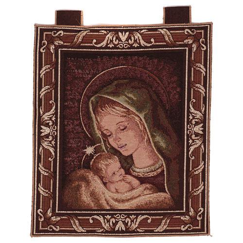 Arazzo Madonna di Recanati cornice ganci 45x40 cm 1