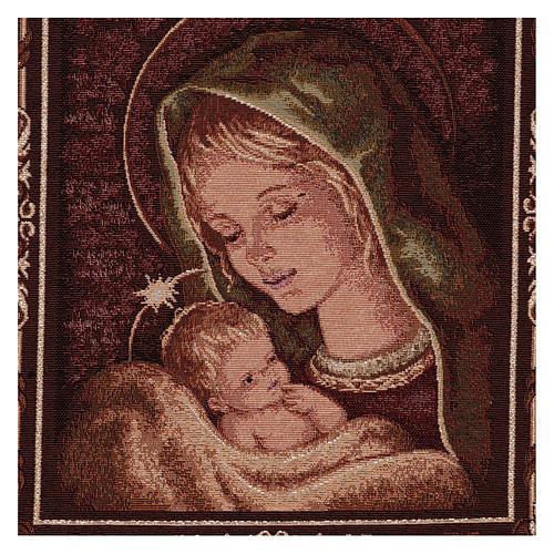 Arazzo Madonna di Recanati cornice ganci 45x40 cm 2