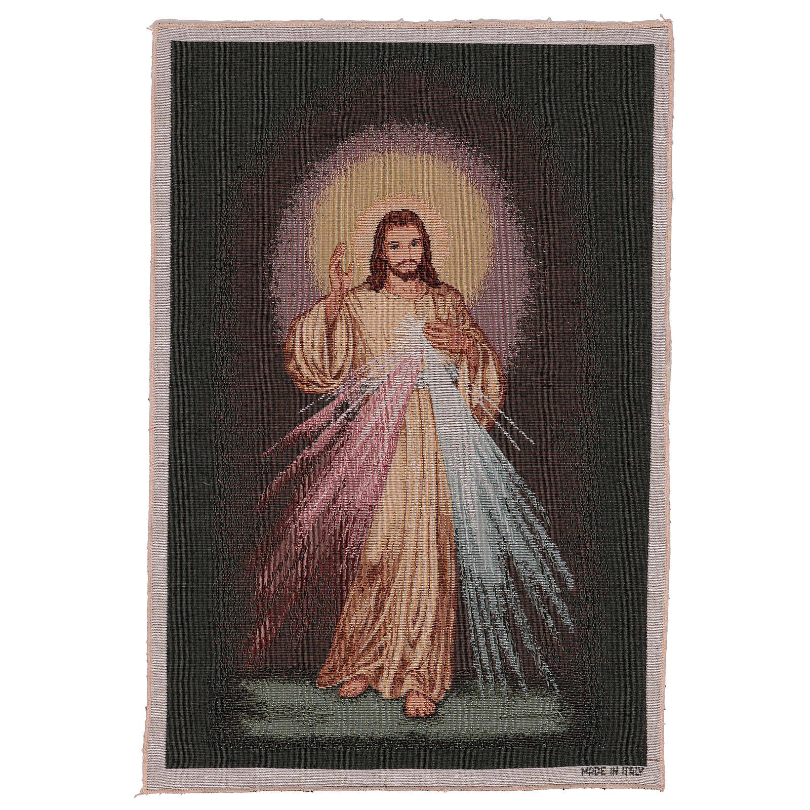 Wandteppich Barmherziger Jesus vor dunklem Hintergrund 60x40 cm 3