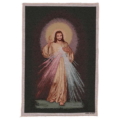 Wandteppich Barmherziger Jesus vor dunklem Hintergrund 60x40 cm 1