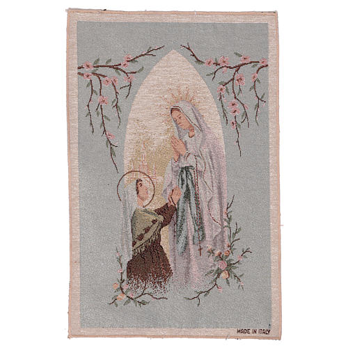 Apparition at Lourdes tapestry with light blue background 19x12