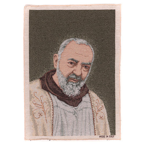 Saint Pio with golden stole tapestry 40x30 cm 1