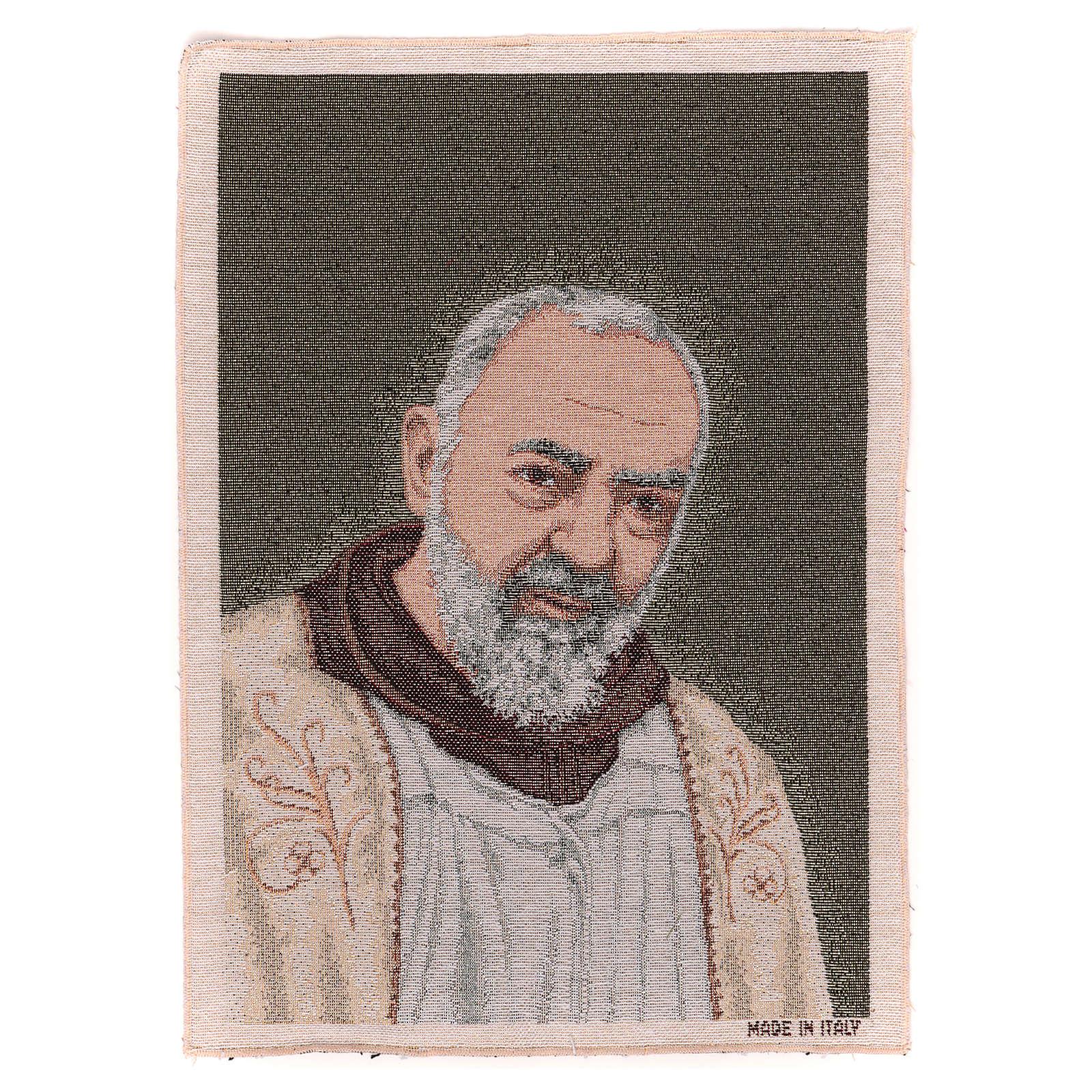 Tapiz Padre Pío estola oro 40x30 cm 3