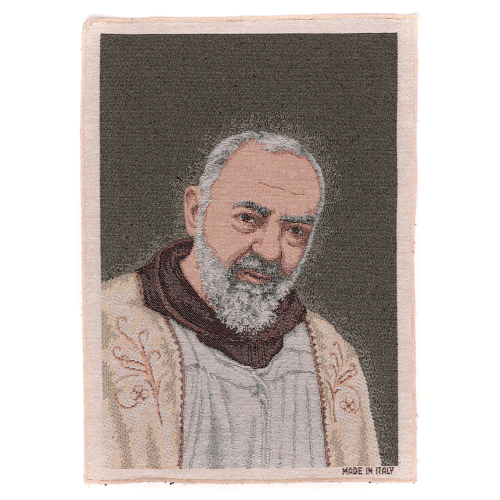 Tapeçaria Padre Pio estola ouro 40x30 cm 3