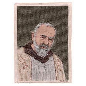 Tapeçaria Padre Pio estola ouro 40x30 cm s1