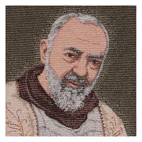 Tapeçaria Padre Pio estola ouro 40x30 cm s2