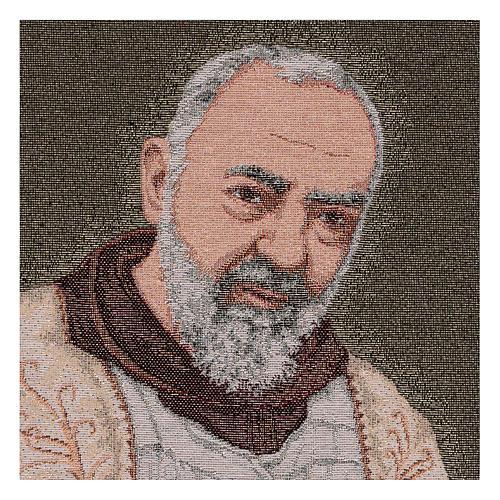 Tapeçaria Padre Pio estola ouro 40x30 cm 2
