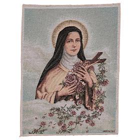 Gobelin Święta Teresa Lisieux tło błękitne 50x40 cm s1