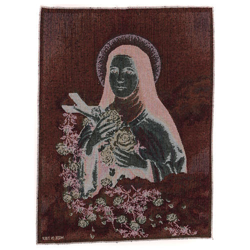 Gobelin Święta Teresa Lisieux tło błękitne 50x40 cm 3