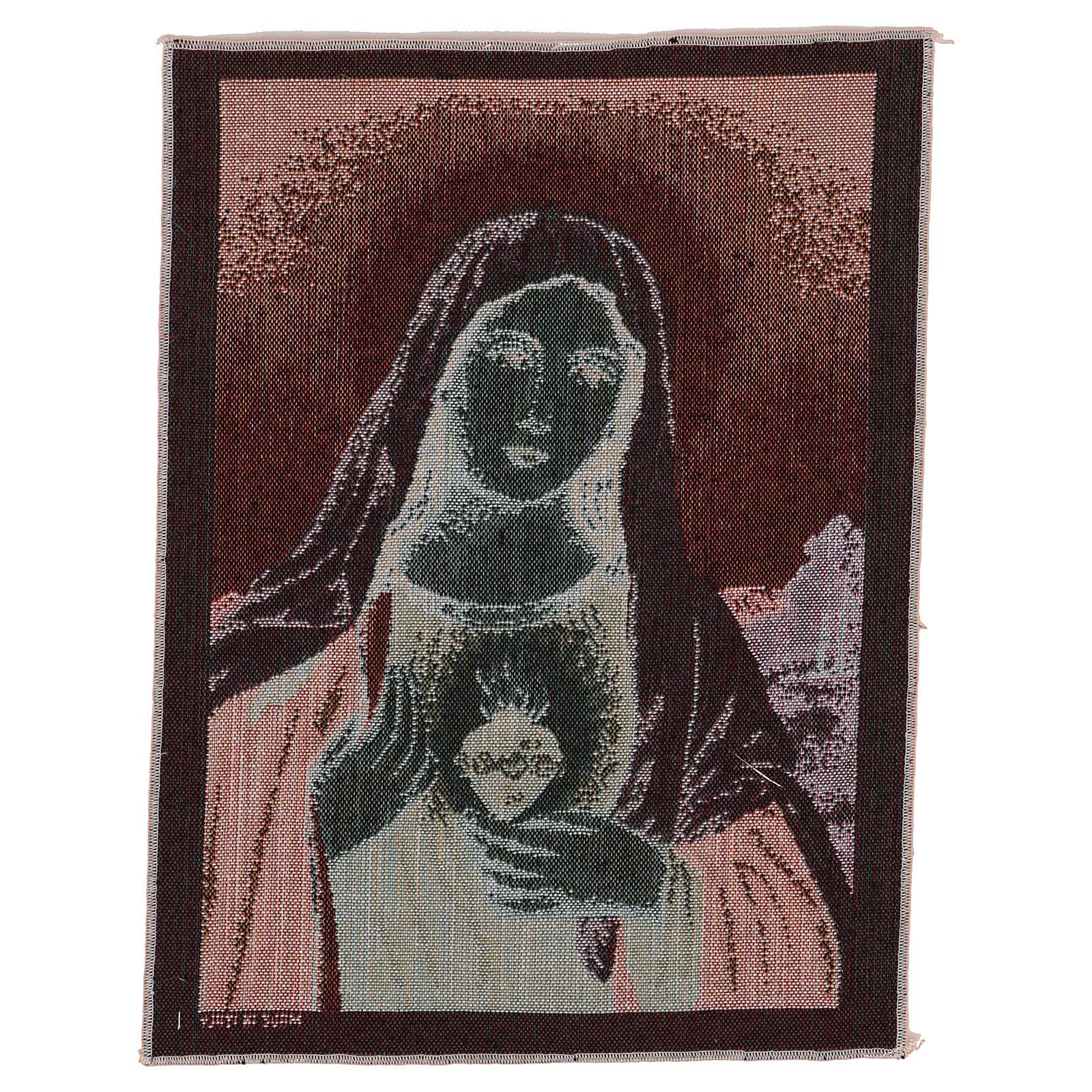 Arazzo Sacro Cuore di Maria con paesaggio 40x30 cm 3