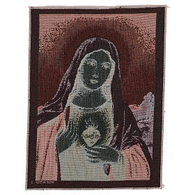 Arazzo Sacro Cuore di Maria con paesaggio 40x30 cm s3