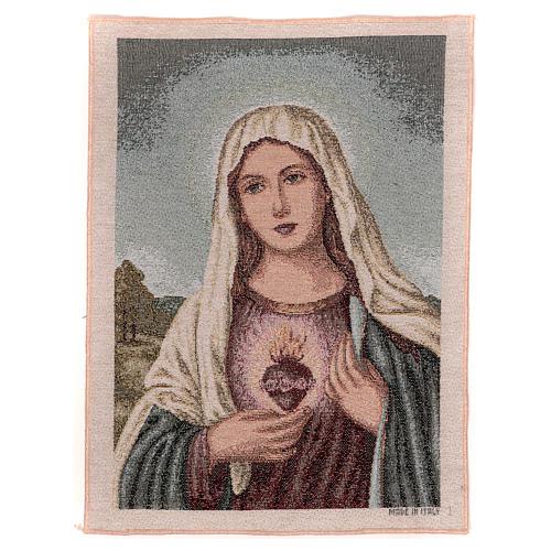 Arazzo Sacro Cuore di Maria con paesaggio 40x30 cm 1