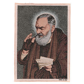 Tapestries: Saint Pio with letters tapestry 40x30 cm