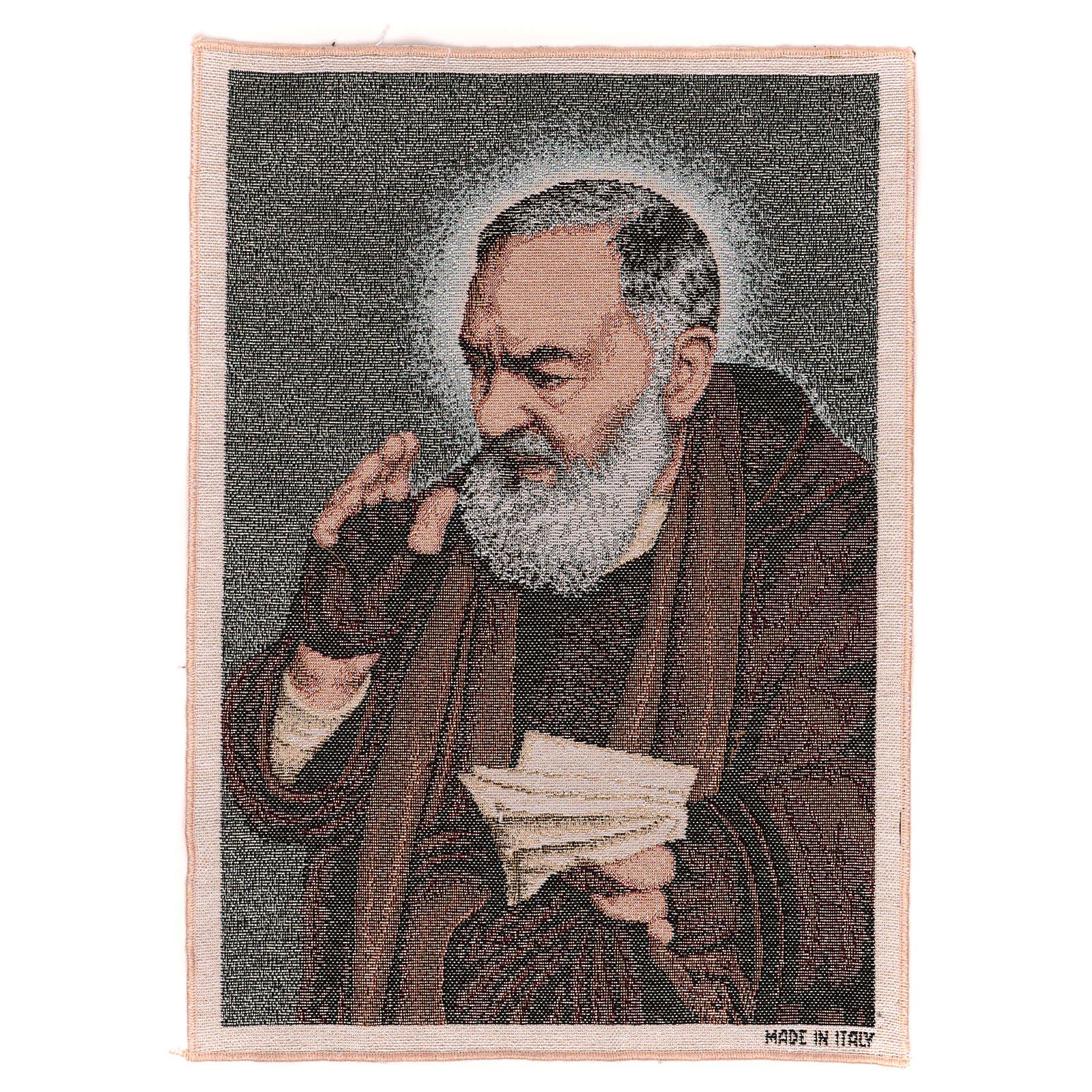 Tapiz Padre Pío letras 40x30 cm 3