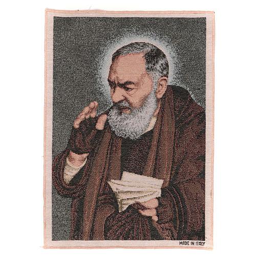 Tapiz Padre Pío letras 40x30 cm 1