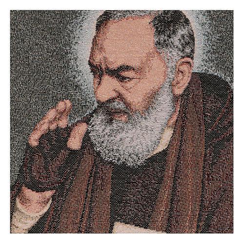 Tapiz Padre Pío letras 40x30 cm 2