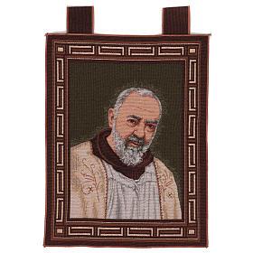 Arazzo Padre Pio Cornice ganci stola 50x40 cm s1