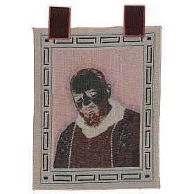 Arazzo Padre Pio Cornice ganci stola 50x40 cm s3