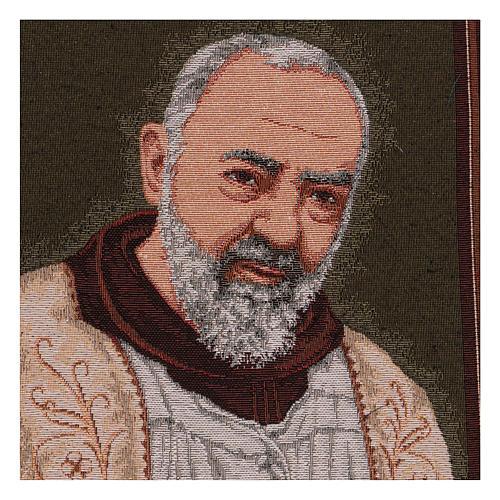 Arazzo Padre Pio Cornice ganci stola 50x40 cm 2