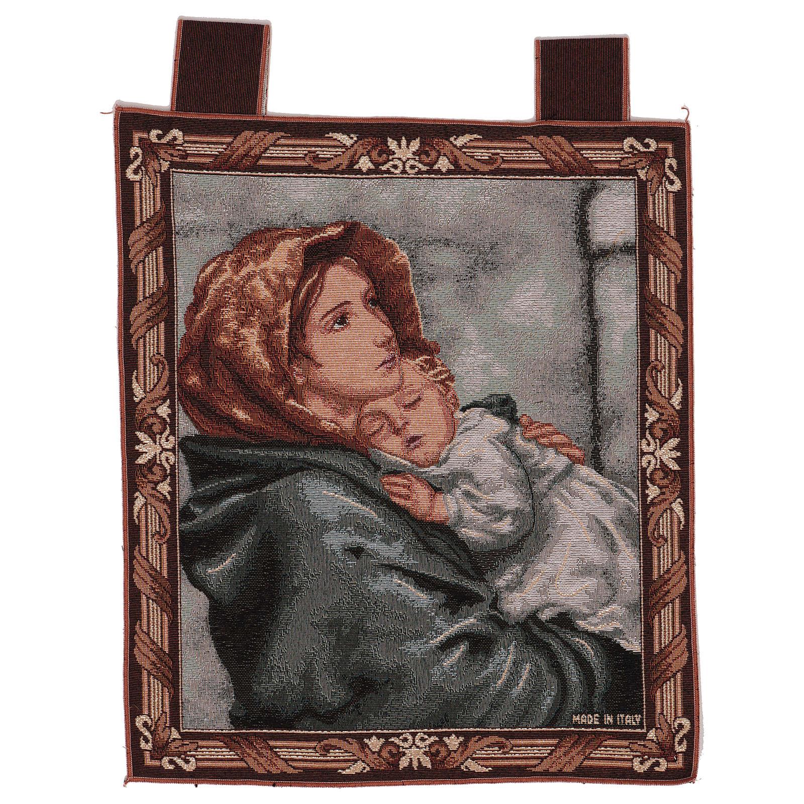 Arazzo Madonna del Buon Riposo cornice ganci 45x40 cm 3