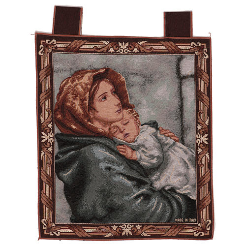 Arazzo Madonna del Buon Riposo cornice ganci 45x40 cm 1