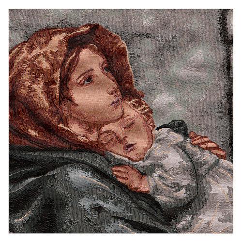 Arazzo Madonna del Buon Riposo cornice ganci 45x40 cm 2