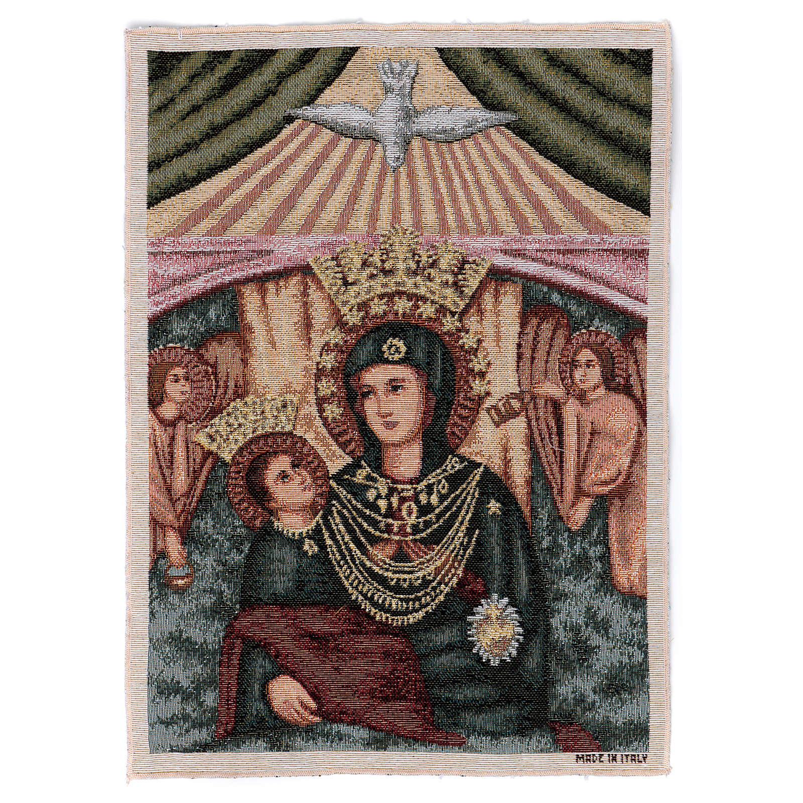 Arazzo Madonna con bambino angeli 40x30 cm 3