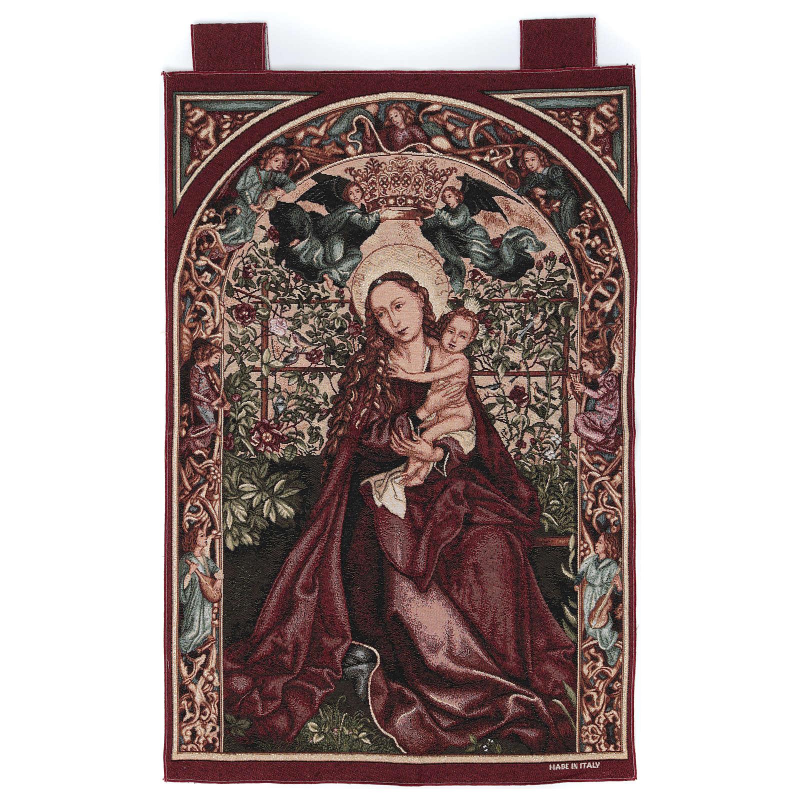 Arazzo Madonna dell'arco di rose cornice ganci 90x60 cm 3
