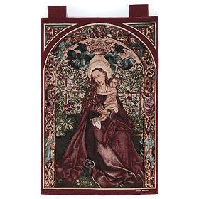 Arazzo Madonna dell'arco di rose cornice ganci 90x60 cm s1