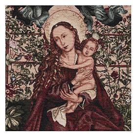 Arazzo Madonna dell'arco di rose cornice ganci 90x60 cm s2