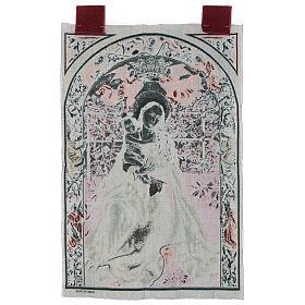 Arazzo Madonna dell'arco di rose cornice ganci 90x60 cm s3