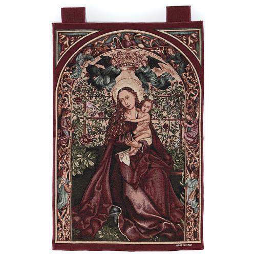 Arazzo Madonna dell'arco di rose cornice ganci 90x60 cm 1