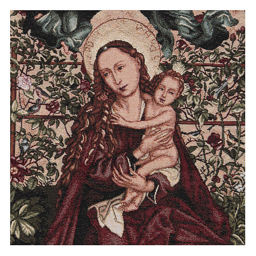 Arazzo Madonna dell'arco di rose cornice ganci 90x60 cm 2