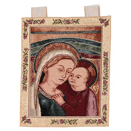 Arazzo Madonna del Buon Consiglio cornice ganci 40x30 cm 1