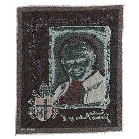 Tapisserie St Jean-Paul II avec blason 35x30 cm s3