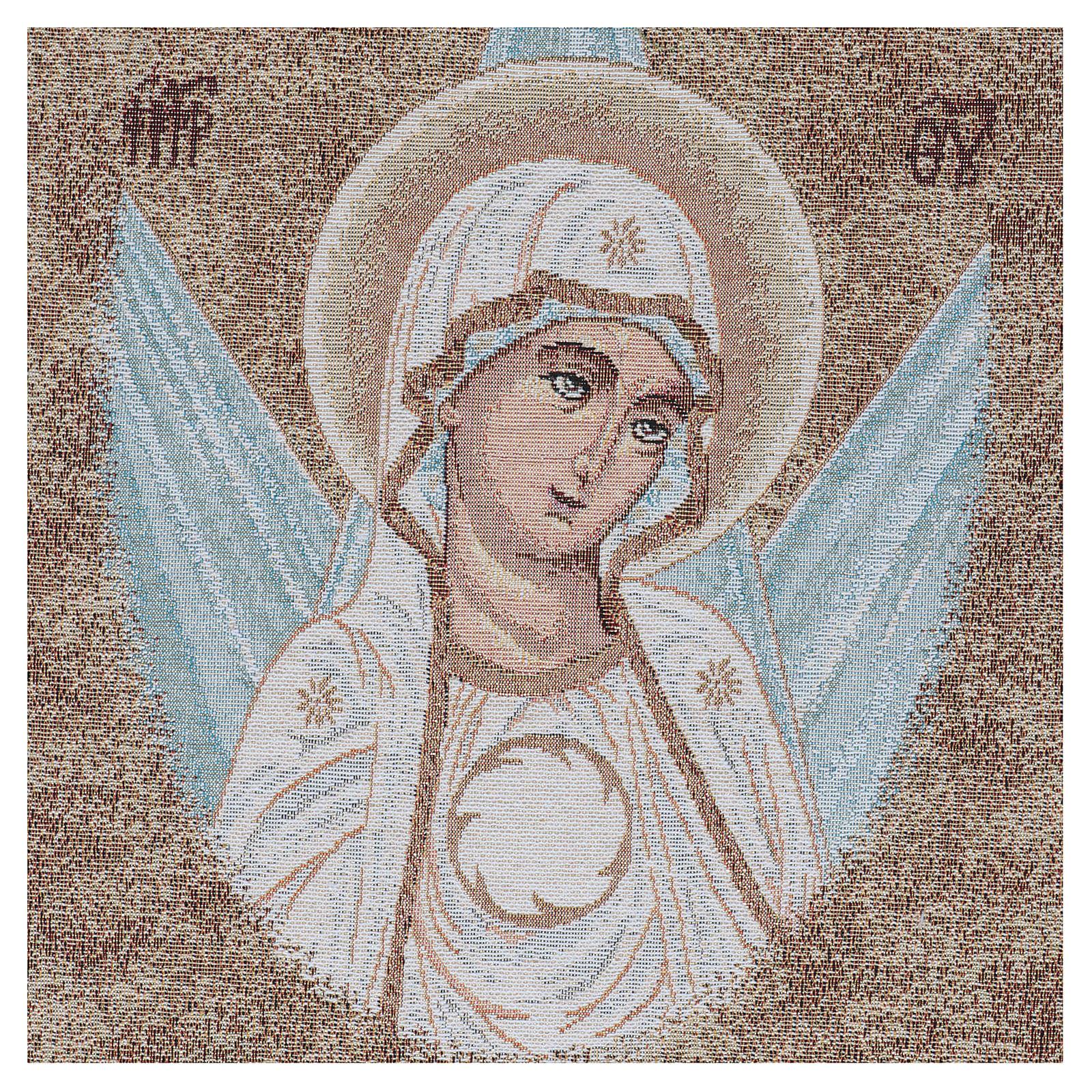 Wandteppich Antlitz byzantinische Madonna mit Strahlen umgeben 45x40 cm 3