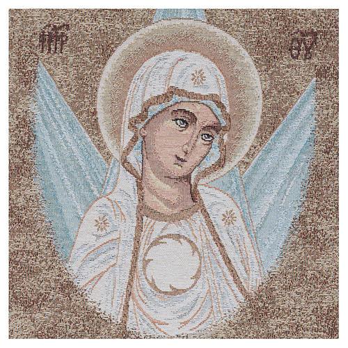 Wandteppich Antlitz byzantinische Madonna mit Strahlen umgeben 45x40 cm 2