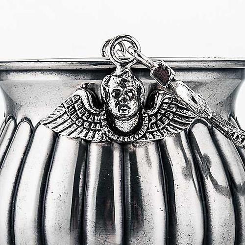 Secchiello per acqua santa ottone cesellato decorato 3