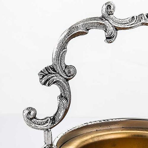 Secchiello per acqua santa ottone cesellato decorato 4