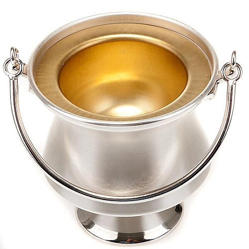 Holy water bucket in silver-plated brass, simple model 2