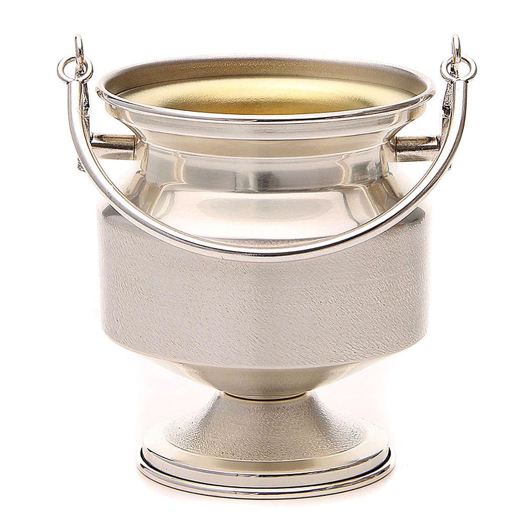 Seau à eau bénite, laiton argenté lisse 3