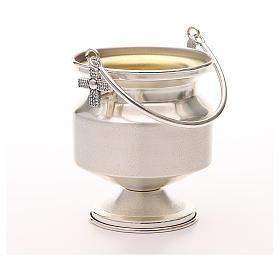 Seau à eau bénite, laiton argenté lisse s4