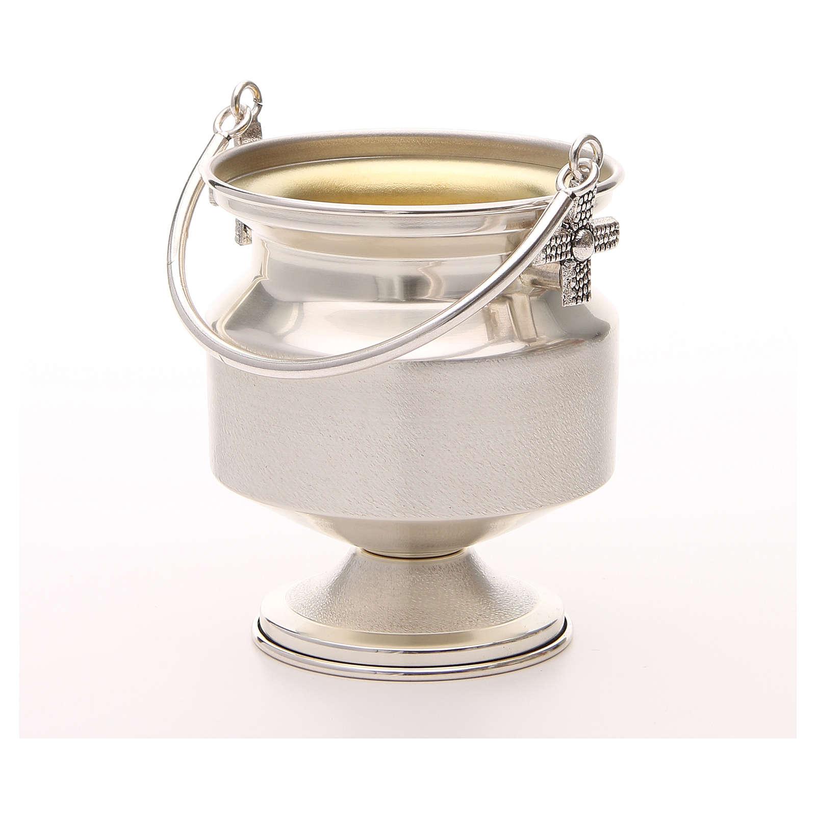 Secchiello per acqua santa ottone argentato liscio 3