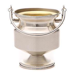 Secchiello per acqua santa ottone argentato liscio s1
