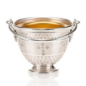 Secchiello per acqua santa ottone sbalzato con croce s5