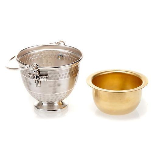 Secchiello per acqua santa ottone sbalzato con croce 2