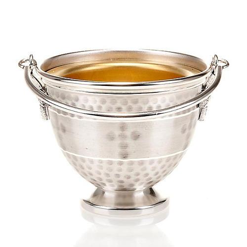 Secchiello per acqua santa ottone sbalzato con croce 5